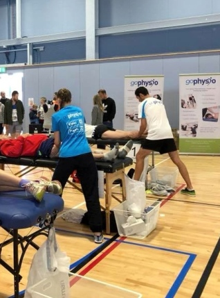 Mike working as part of the Eastleigh 10k massage team 2018